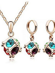 cheap -Women's Crystal Pendant Necklace Necklace / Earrings Fashion Crystal Earrings Jewelry Blue For Party Daily Casual Work