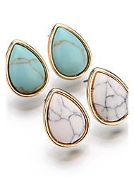 cheap -Women's Turquoise Stud Earrings Drop Earrings Drop Ladies Vintage Bohemian European Simple Style Fashion Gold Plated Turquoise Earrings Jewelry White / Blue For Party Daily Casual