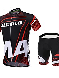 cheap -Malciklo Men's Short Sleeve Cycling Jersey with Shorts Red / black Dots Bike Clothing Suit Breathable 3D Pad Quick Dry Back Pocket Sports Coolmax® Lycra Dots Mountain Bike MTB Road Bike Cycling