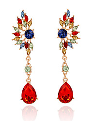 cheap -Women's Girls' Crystal Drop Earrings Hanging Earrings Pear Cut Ladies Bohemian Fashion Elegant Indian Crystal Gold Plated Earrings Jewelry Green / Rainbow For Wedding Party 1pc / Rhinestone