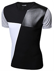 cheap -Men's Daily Cotton T-shirt - Color Block White / Short Sleeve / Summer