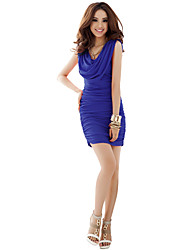 cheap -Women's Going out Bodycon Dress - Solid Colored Ruched Boat Neck Green Blue Pink S M L XL