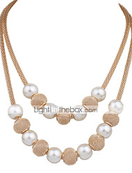 cheap -Women's Pearl Choker Necklace Beaded Necklace Layered Necklace Layered Ladies Double-layer Fashion Bridal Pearl Alloy White Necklace Jewelry For Wedding Party Daily Work