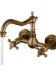 cheap -Bathroom Sink Faucet - Rotatable Antique Bronze Wall Mounted Two Holes / Two Handles Two HolesBath Taps