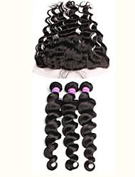 Недорогие -Бразильские волосы Свободные волны 340 g Волосы Уток с закрытием Ткет человеческих волос Расширения человеческих волос