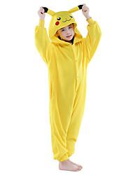 cheap -Kid's Kigurumi Pajamas Pika Pika Animal Onesie Pajamas Flannel Toison Yellow Cosplay For Boys and Girls Animal Sleepwear Cartoon Festival / Holiday Costumes / Leotard / Onesie / Leotard / Onesie