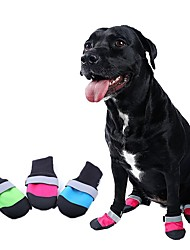 cheap -Cat Dog Boots / Shoes Cosplay Birthday Holiday Color Block Stripes For Pets Mixed Material Black / Summer / Winter / Waterproof