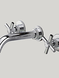 cheap -Bathroom Sink Faucet - Widespread / Wall Mount Chrome Wall Mounted Two Handles Three HolesBath Taps