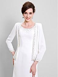 abordables -Manches Longues Mousseline de soie Mariage / Soirée Etoles de Femme Avec Billes Manteaux / Vestes