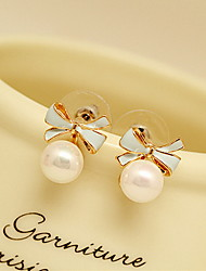cheap -Women's Bowknot Vintage Fashion Cute Pearl Earrings Jewelry White / Black / Pink Bowknot For Daily