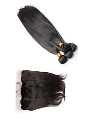 Недорогие -Перуанские волосы Прямой 340 g Волосы Уток с закрытием Ткет человеческих волос Расширения человеческих волос