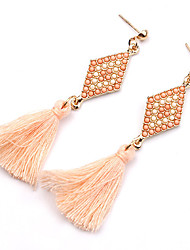 cheap -Women's Earrings Tassel Long Cheap Statement Ladies Personalized Tassel Vintage Bohemian Resin Gold Plated Earrings Jewelry Black / Green / Pink For Party Daily Casual / Turquoise