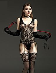 cheap -Women's Mesh Plus Size Teddy Nightwear Solid Colored Black XL XXL XXXL