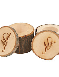 cheap -Set of 2pcs Mr & Mrs Shabby Chic Rustic Wedding Ring Pillow Bearer Box Wooden