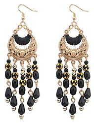 cheap -Women's Girls' Hanging Earrings Ladies Tassel Party Bohemian Vintage Fashion Crystal Resin Gold Plated Earrings Jewelry White / Black / Red For Wedding Party / Turquoise