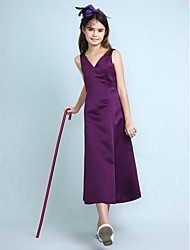 cheap -A-Line / Princess V Neck Knee Length Satin Junior Bridesmaid Dress with Pleats / Spring / Summer / Fall / Apple / Hourglass