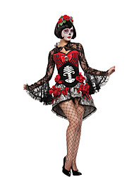 cheap -Ghostly Bride Cosplay Costume Party Costume Adults' Women's Halloween Day of the Dead Festival / Holiday Spandex Black / Red Female Carnival Costumes Lace