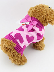 cheap -Dog Sweater Puppy Clothes Heart Fashion Winter Dog Clothes Puppy Clothes Dog Outfits Rose Costume for Girl and Boy Dog Cotton XS S M L