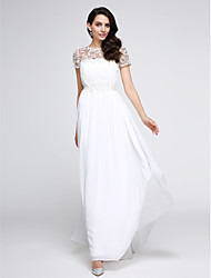 cheap -A-Line Prom Formal Evening Dress Illusion Neck Short Sleeve Floor Length Chiffon with Draping Appliques 2020