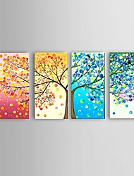 cheap -Oil Painting Hand Painted - Abstract Landscape Still Life Modern With Stretched Frame / Four Panels