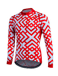 cheap -Fastcute Men's Long Sleeve Cycling Jersey Winter Fleece Coolmax® Velvet Red / White Bike Sweatshirt Jersey Top Thermal / Warm Fleece Lining Breathable Sports Clothing Apparel / Quick Dry / Stretchy