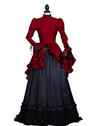 cheap -Marie Antoinette Rococo Victorian 18th Century Dress Party Costume Masquerade Women's Lace Satin Costume Red Vintage Cosplay Long Sleeve Long Length Ball Gown Plus Size