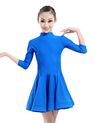 cheap -Latin Dance Dresses Performance Chinlon Ruched 3/4 Length Sleeves Natural Dress