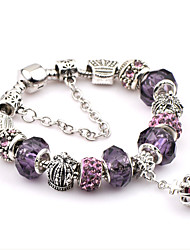 cheap -Men's Crystal Chain Bracelet Charm Bracelet Ladies Fashion Festival / Holiday Italian Stainless Steel Bracelet Jewelry Purple For Christmas Gifts Wedding Party Daily Casual Sports