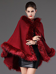 cheap -Long Sleeve Capes Faux Fur Casual Women's Wrap With Feathers / Fur