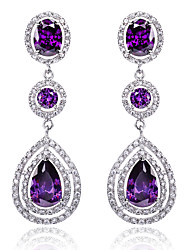 cheap -Women's Sapphire Cubic Zirconia Amethyst Earrings Pear Cut Solitaire Past Present Future Drop Ladies Luxury Fashion Bridal Bling Bling Sterling Silver Zircon Cubic Zirconia Earrings Jewelry White
