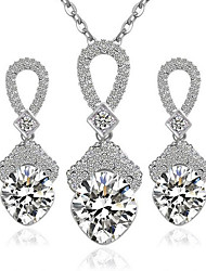cheap -Women's Diamond Cubic Zirconia tiny diamond Pendant Necklace Necklace / Earrings Ladies Fashion Sterling Silver Zircon Earrings Jewelry White For Party Daily Casual Work