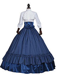 cheap -Queen Elizabeth Rococo Victorian Medieval 18th Century Dress Party Costume Masquerade Women's Lace Satin Costume Red / Dark Blue Vintage Cosplay Party Prom Long Sleeve Floor Length Ball Gown Plus