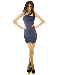 cheap -Women's Off Shoulder Party Party Sleeveless Slim Dress - Solid Colored Blue M L XL