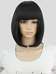 cheap -Synthetic Wig Cosplay Wig Straight Kardashian Straight Bob With Bangs Wig Black Synthetic Hair Women's Black