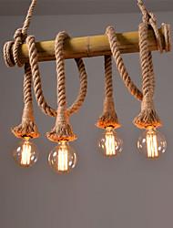 abordables -Corde de chanvre vintage 60cm 4 têtes avec lampes suspendues en bambou loft salon créatif restaurant lampe magasin