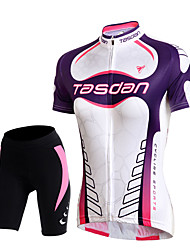 cheap -TASDAN Women's Short Sleeve Cycling Jersey with Shorts Black Solid Color Plus Size Bike Shorts Jersey Padded Shorts / Chamois Breathable 3D Pad Quick Dry Reflective Strips Back Pocket Sports Solid