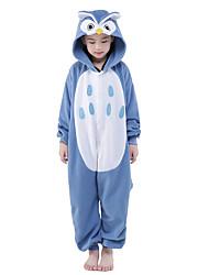 cheap -Kid's Kigurumi Pajamas Owl Animal Onesie Pajamas Velvet Mink Blue Cosplay For Boys and Girls Animal Sleepwear Cartoon Festival / Holiday Costumes