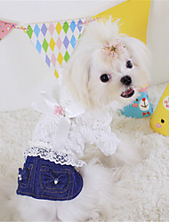 cheap -Dog Dog Clothes Bowknot Jeans Black Blue Jeans Cotton Costume For Spring &  Fall Summer Winter Women's Casual / Daily