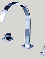 cheap -Bathroom Sink Faucet - Widespread Chrome Widespread Three Holes / Two Handles Three HolesBath Taps