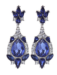 cheap -Women's Girls' Pear Cut Ladies Vintage Rhinestone Gold Plated Earrings Jewelry Blue For Wedding Party Daily Casual / Crystal
