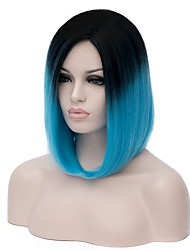 cheap -womens short straight hair synthetic wigs black blue ombre colors anime cosplay wig party kanekalon fibre 35cm Halloween