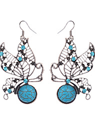cheap -Women's Girls' Drop Earrings Animal Cheap Ladies Vintage Bohemian Rhinestone Silver Plated Earrings Jewelry Blue For Daily Casual 1pc / Turquoise