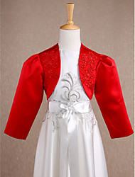 cheap -Long Sleeve Shrugs Satin Wedding / Party Evening Kids' Wraps With Appliques