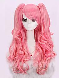 cheap -anime cos long curly wig hair pink color mixture harajuku fluffy lolita fashion wig 26 inch Halloween