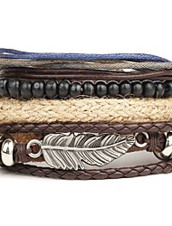 cheap -Men's Wrap Bracelet Leather Bracelet Layered Rope Wings Personalized Punk Multi Layer Leather Bracelet Jewelry Brown For Christmas Gifts Daily Casual Beach