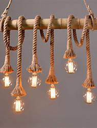 cheap -6 Head 80cm Vintage Hemp Rope With Bamboo Pendant Lights Loft Creative  Living Room Restaurant Clothing Store Lamp