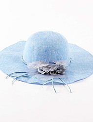 cheap -Women's Holiday Linen Sun Hat-Solid Colored Spring Summer Blue