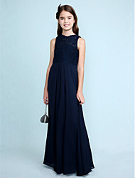 cheap -Sheath / Column Scoop Neck Floor Length Chiffon / Lace Junior Bridesmaid Dress with Lace