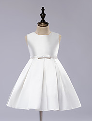 cheap -A-Line Knee Length Flower Girl Dress - Satin Sleeveless Jewel Neck with Sash / Ribbon / First Communion