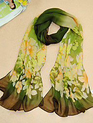 cheap -Women's Holiday Chiffon Rectangle Scarf Print / Black / Blue / Green / Purple / Gray